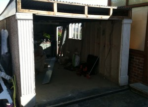 Before picture of garage revamp in Barnsley
