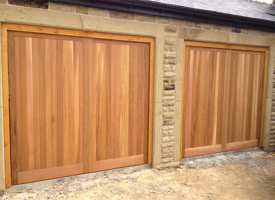 Timber remote control garage doors