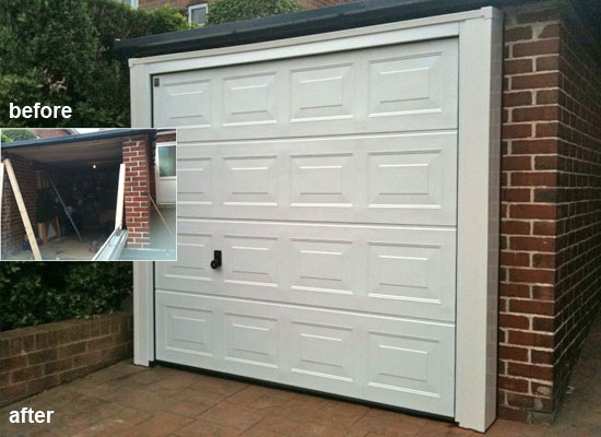 Installation of sectional garage door